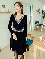 CHAOLIU Leopard V Neck Velvet Swing Dress (mehr Farben)