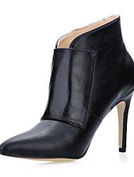 Gorgeous cuero estilete botas de tacón tobillo con zapatos de hebilla de fiesta / vestido de noche