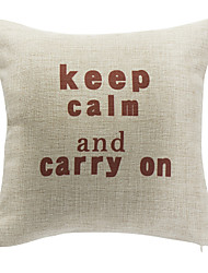 Keep Calm And Carry On Cotton Decorative Pillow Cover