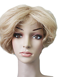 Capless 100% Human Hair Blonde Short Wavy Hair Wig