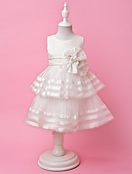 A-line | Princess Jewel Tea-Länge Organza und Satin Cute Flower Girl Dress