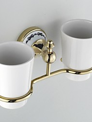 Ceramic Wall Mount Golden Ti-PVD Double Tumbler Toothbrush Holder