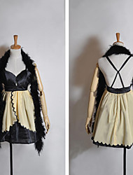Inspired by Vocaloid Kagamine Rin Video Game Cosplay Costumes Cosplay Suits / Dresses Patchwork Yellow Sleeveless Dress / Scarf