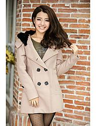 FREELI Simplicity Khaki Double Breast Tweed Coat
