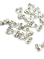 5PCS 3D Half Cover Metal Nail Decorations Diamond Bowknot