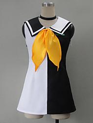 Inspirado por Vocaloid Kagamine Rin Vídeo Jogo Cosplay Costumes Ternos de Cosplay / Vestidos Patchwork Branco Sem MangasVestido / Peça