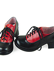 Handmade Black and Red PU Leder 4.5cm High Heel Edle Academy School Lolita Schuhe