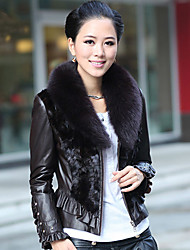 Long Sleeve Fox Fur Shawl Collar Lambskin Leather With Mink Fur Casual/Office Jacket (More Colors)