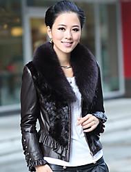 Manga comprida Fox Fur Xaile couro de Anho Collar com pele Mink Jacket Casual / Office (mais cores)
