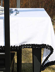 Black / Off-white Linen Rectangular Table Cloths