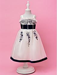 A-line | Prinzessin Riemen Tee-Länge Organza und Satin Cute Flower Girl Dress