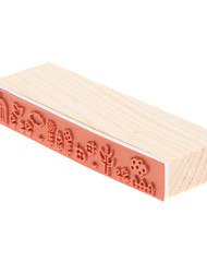 Tree & Flower Pattern Wood Stamp Signet
