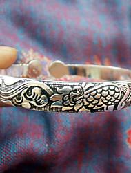 dragón tallado patrón pulsera delgada de plata de las mujeres