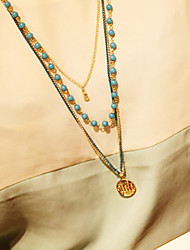 Damen Light Blue Balls Necklace