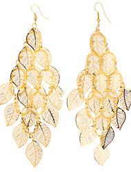 Earring Leaf Drop Earrings Jewelry Women Party Alloy Gold