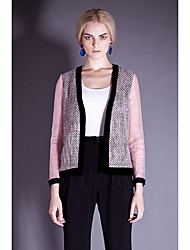 I-DOU Women's Pink Organza Sleeve Tweed Jacket