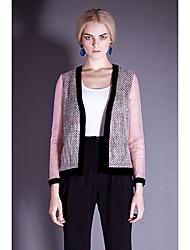 i-dou femmes organza rose veste en tweed manches