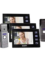 """7 """"couleur Portier vidéo avec enregistrement SD Picture Card, la prise de photos (2 Caméra Pour 3 Moniteur)"""