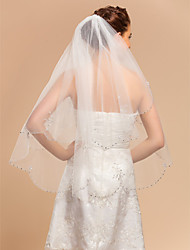 Wedding Veil Two-tier Fingertip Veils Lace Applique Edge 35.43 in (90cm) Tulle Ivory