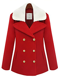 Women's Coat,Solid Long Sleeve Winter Blue / Red Medium