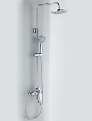 Contemporary Style Chrome Finish Shower Faucets with Diameter 20cm Shower Head + Hand Shower