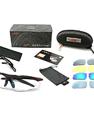 Topeak Sports Shatterproof Cycling Glasses with TR90 Frame(Black and Red Frame,Five Lens)TS001HR
