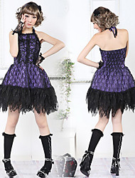 Sleeveless Short Black Lace Cotton Punk Style Gothic Lolita Dress