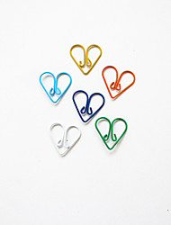 Heart Pattern Plastic Wrapped Paper Clips(10PCS Random Colors)