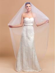 Elegante de uma camada véu de noiva Valsa Com Borda Lápis