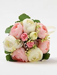 Forme Satin Jolie Ronde Rose Avec Le Bouquet de mariée ruban