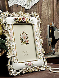 "7"" Country Floral Embossed Polyresin Picture Frame"