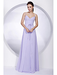 Lanting Bride® Floor-length Chiffon Bridesmaid Dress A-line Spaghetti StrapsApple / Hourglass / Inverted Triangle / Pear / Rectangle /