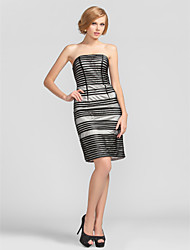 Sheath/Column Bateau Short/Mini Stripes Tulle Cocktail Dress