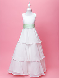 LAN TING BRIDE A-line Princess Floor-length Flower Girl Dress - Chiffon Satin Scoop with Bow(s) Draping Sash / Ribbon