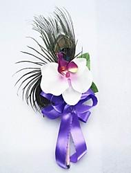 Satin / coton avec Plume de paon de forme libre Boutonnière