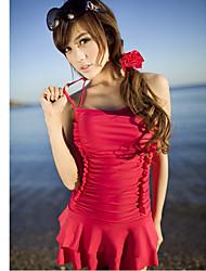 Women's Red Halter Padded Underwire Swim Dress