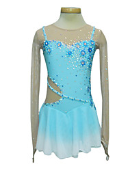 Skating Wear/Skating Dress Dumb Light Spandex Elasticated Net Silk Flowers Transitional Colors Sling Figure Skating Clothing