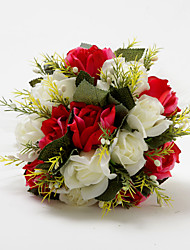 Pretty Ivory And Red Satin Rose Round Shape Wedding Bridal Bouquet