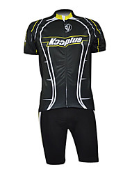 Kooplus 100% Polyester Short Sleeve Quick Dry Mens Cycling Suits(Black)