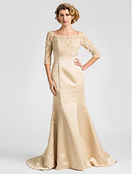 Mermaid / Trumpet Scoop Neck Sweep / Brush Train Lace Satin Mother of the Bride Dress with Beading by LAN TING BRIDE®