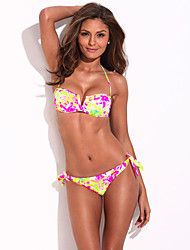 The Belle of the Beach - RELLECIGA Full-Lined High Contrast Floral Blooming Pattern Bikini Set with Mild Push-up Molded Foam Padding