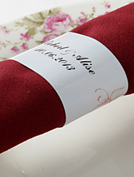 Personalized Paper Napkin Ring - Red Flower (Set of 50)