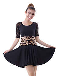 Dancewear Half Sleeve Viscose with Lace Latin Dance Dress For Ladies More Colors