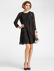 A-line Plus Sizes / Petite Mother of the Bride Dress - Black Knee-length 3/4 Length Sleeve Chiffon