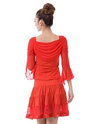 Dancewear viscose Top Latin Dance e laço e saia para as senhoras mais cores