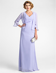 Lanting Sheath/Column Plus Sizes / Petite Mother of the Bride Dress - Lavender Floor-length 3/4 Length Sleeve Chiffon