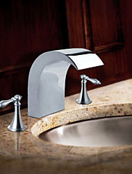 Chrome Finish Stainless Steel Contemporary Style Widespread Bathroom Sink Faucets
