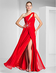 Prom / Formal Evening / Military Ball Dress - Sexy Plus Size / Petite Sheath / Column One Shoulder Floor-length Chiffon withBeading /