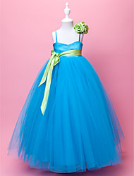 Flower Girl Dress - Mode de bal/A-line Longueur ras du sol Sans manches Satin/Tulle