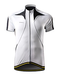 SPAKCT Cycling Tops / Jerseys Men's Bike Breathable / Quick Dry / Waterproof Zipper / Front Zipper Short Sleeve 100% Polyester WhiteS / M